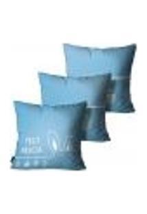 Kit Com 3 Capas Para Almofadas De Páscoa Azul 55X55