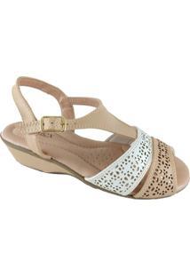 Sandália Sapatoweb Confort Flex Feminino - Feminino-Bege