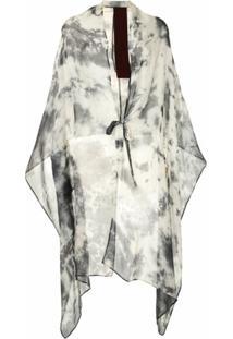 Masnada Cardigan Assimétrico Com Estampa Abstrata - Cinza