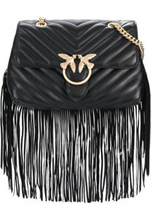 Pinko Love Simply Fringe Shoulder Bag - Preto