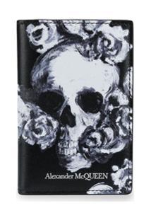Alexander Mcqueen Carteira Com Estamoa De Caveiras E Rosas - Preto