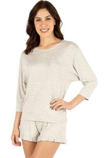 Pijama Curto Babados Homewear Mescla | 589.072