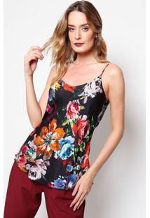 Blusa Floral Com Vazado - Preta & Laranja- Ahaaha