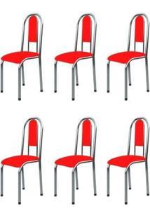 Kit 6 Cadeiras Anatômicas 0.122 Estofada Cromado/Vermelho - Marcheli