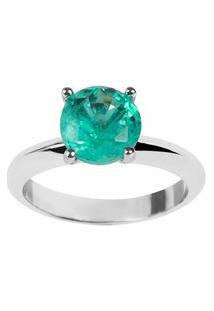 Anel The Ring Boutique Solitário Pedra Cristal Verde Turmalina Fusion Ródio Ouro Branco