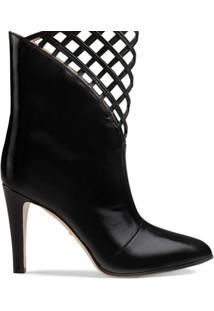 Gucci Ankle Boot De Couro Com Recortes - Preto