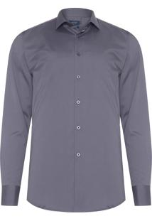 Camisa Masculina Social Comfort - Cinza