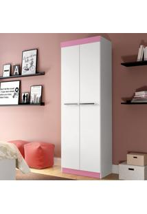 Sapateira 02 Portas Rp8020 Branco/Branco/Rosa - Decibal Móveis