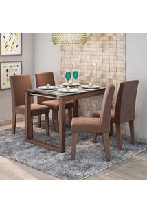 Conjunto De Mesa De Jantar Retangular Anita Com Vidro E 4 Cadeiras Milena Suede Chocolate E Marrocos