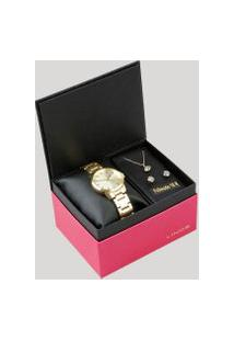 Kit De Relógio Analógico Lince Feminino + Brinco + Colar - Lrg4482L Kd10C1Kx Dourado