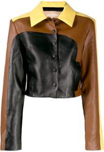 Matériel Panelled Cropped Shirt Jacket - Marrom