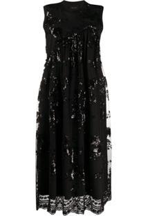 Simone Rocha Vestido Midi Com Paetês - Preto