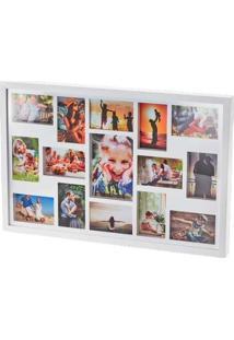 Painel De Fotos Branco Collection Para 15 Fotos Woodart