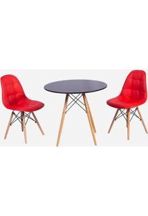 Conjunto Mesa Eiffel Preta 80Cm + 2 Cadeiras Dkr Charles Eames Wood Estofada Botonê - Vermelha