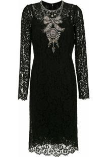 Dolce & Gabbana Vestido Midi Renda Com Bordados - Preto