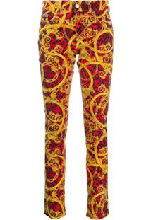 Versace Jeans Couture Calça Jeans Com Estampa Barroca - Vermelho