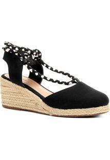 Sandália Anabela Shoestock Amarração Feminina - Feminino-Preto