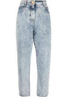 Balmain Calça Jeans Reta Com Efeito Manchado - Azul