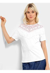 Camiseta Lez A Lez Estampada Franja Feminino - Feminino-Branco