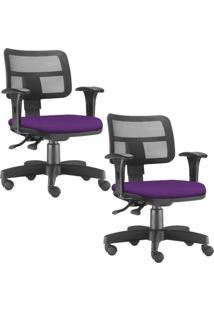 Kit 02 Cadeiras Giratórias Lyam Decor Zip Suede Roxo