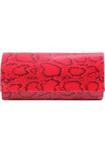Bolsa Birô Clutch Animal Print Cobra Feminina - Feminino-Vermelho