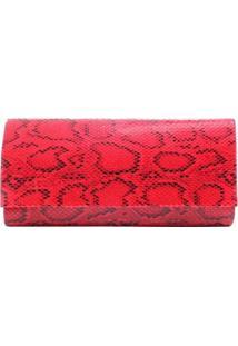 Bolsa Clutch Animal Print Cobra - Feminino-Vermelho