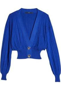 Cardigan Plissado Eva - Feminino-Azul Royal