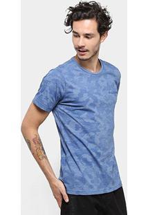Camiseta Bulldog Fish Camuflada Masculina - Masculino-Azul Claro