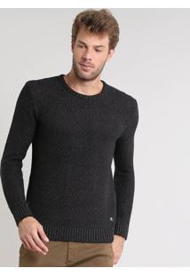 Suéter Masculino Slim Fit Mescla Texturizado Em Tricô Preto