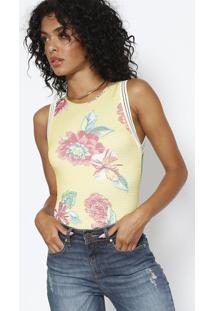 Body Floral Em Tela - Amarelo & Vermelho - Sommersommer