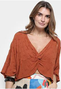 Blusa Cropped Cantão Bordada Nó Feminina - Feminino-Marrom Claro
