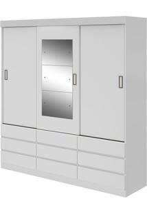 Guarda-Roupa Hércules Plus Com Espelho - 3 Portas - Branco