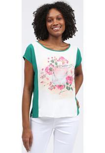 Blusa Floral - Verde & Brancascalon