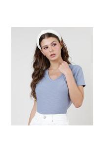 Blusa Feminina Básica Flamê Manga Curta Decote V Azul Claro