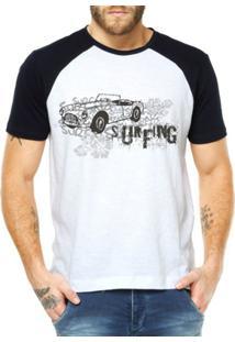 Camiseta Raglan Criativa Urbana Surfing - Masculino-Branco