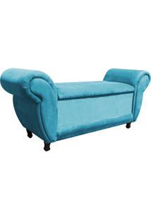Sofá Retrô Com Baú Itália Namoradeira Calçadeira Suede Azul Tiffany - D'Rossi