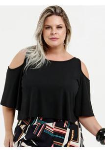 Blusa Feminina Cropped Open Shoulder Plus Size Manga Curta