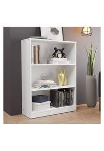 Estante Para Livros Home Sala Madesa 6907 Com 3 Nichos Branco Branco