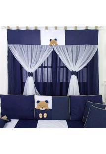 Cortina Para Quarto De Beb㪠Real Urso Realeza Marinho - Azul Marinho - Menino - Dafiti
