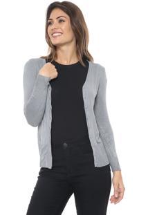 Cardigan Polo Wear Tricot Bã¡Sico Cinza - Cinza - Feminino - Algodã£O - Dafiti
