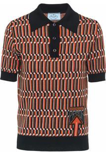 Prada Camisa Polo Jacquard - Laranja