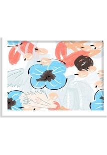 Quadro Decorativo Flores Coloridas Abstratas Azul E Vermelho Branco - Grande