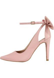 Scarpin Salto Alto Week Shoes Laço Traseiro Rosado