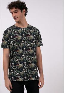 Camiseta Manga Curta Estampa Folhagem E Caveiras