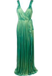 Maria Lucia Hohan Vestido Longo Amena Plissado - Verde