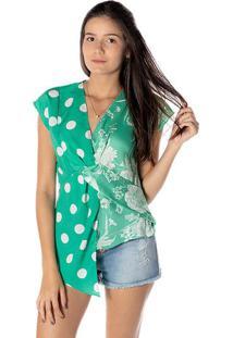 Blusa Poã¡S Com Recorte - Verde & Brancadwz