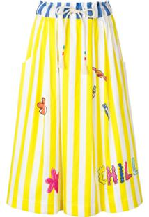 Mira Mikati Striped Drawstring Skirt - Branco