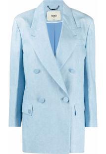 Fendi Blazer Com Abotoamento Duplo - Azul