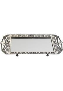 Bandeja Retangular Decorativa Btc Em Vidro Espelhado E Metal Com Cristais 3 X 37 X 20 Cm - Prata
