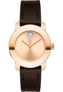 Relógio Movado Feminino Couro Marrom - 3600438